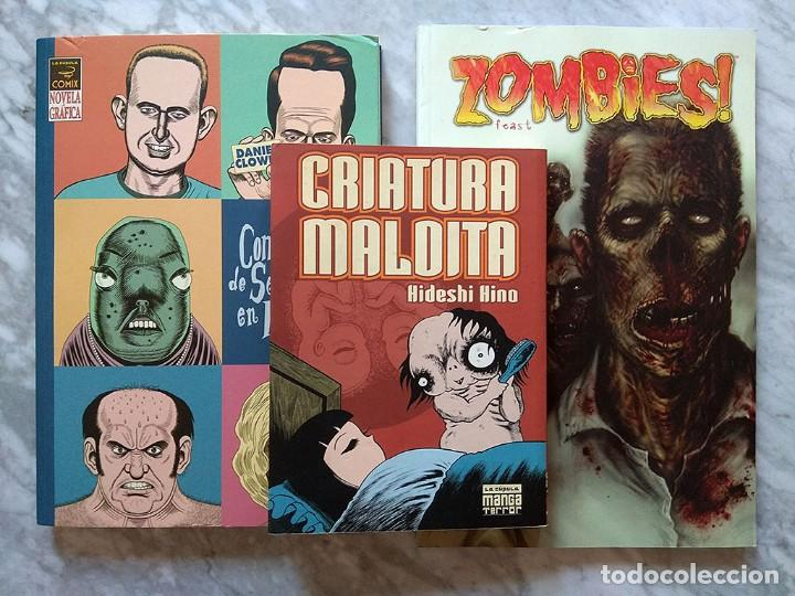 LOTE CÓMICS TERROR HIDESHI HINO CRIATURA MALDITA DANIEL CLOWES GUANTE SEDA FORJADO HIERRO ZOMBIES! (Tebeos y Comics - Tebeos Pequeños Lotes de Conjunto)