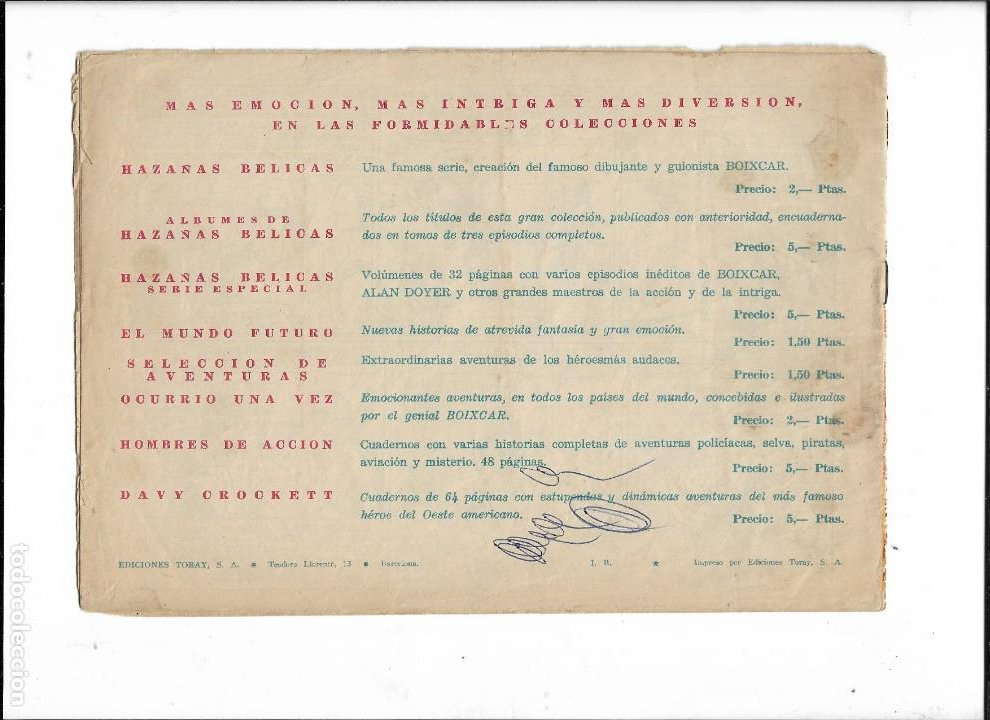 Tebeos: Capitán Coraje Año 1958 Colección Completa son 44 Tebeos Originales Dibujada por G. Iranzo - Foto 3 - 233878245