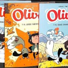 Tebeos: OLIVIA Y EL GENIO SINVERGÜENZA, OLIVIA Y EL ZORRO FURIOSO, OLIVIA Y LA GRAN BOLA DE LANA Nº1 , 2 Y 3. Lote 259062595