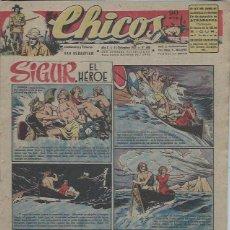 Tebeos: TEBEO CHICOS AÑO X 14 DICIEMBRE 1947 Nº 485, SIGUR EL HÉROE. Lote 49729779