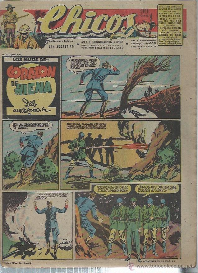 TEBEO CHICOS AÑO X 12 OCTUBRE 1947 Nº 457, LOS HIJOS DE CORAZÓN DE HIENA (Tebeos y Comics - Consuelo Gil)