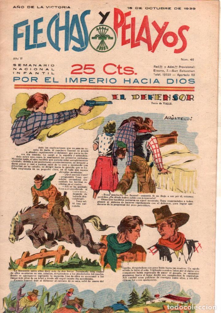 FLECHAS Y PELAYOS ORIGINAL Nº 45 - OCTUBRE 1939 - MUY BUENA CONSERVACION (Tebeos y Comics - Consuelo Gil)