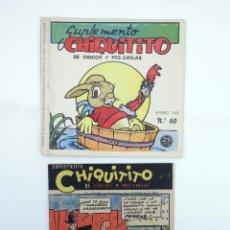 Tebeos: SUPLEMENTO CHIQUITITO DE CHICOS Y MIS CHICAS 60. SIN CONTRACUBIERTA GILSA, 1942 CUADERNO GRAPADO (CO. Lote 98174674