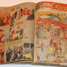Tebeos: CHICOS - LOTE 60 TEBEOS SEGUIDOS - 1943 - DESDE EL 274 AL 334 COMPLETOS - EN TOMO - CONSUELO GIL. Lote 174060785