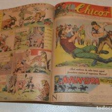 Livros de Banda Desenhada: CHICOS - 57 NÚMEROS - DESDE EL 335 HASTA EL 393 - ORIGINALES - 1945 / 46 - 1 TOMO ENCUADERNADO. Lote 194648347