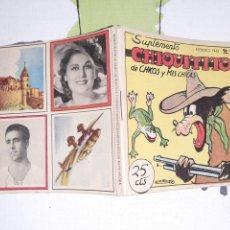 Giornalini: CHIQUITITO SUPLEMENTO DE CHICOS Y MIS CHICAS N° 62 COMPLETO CON RECORTABLE Y CROMOS. Lote 221626607