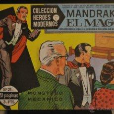 Tebeos: MANDRAKE EL MAGO, Nº 21. COLECCION HEROES MODERNOS SERIE C. LITERACOMIC.. Lote 48260715