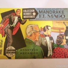 Tebeos: COLECCION HEROES MODERNOS - MANDRAKE EL MAGO NUM 21 - EDITORIAL DOLAR - 1958 - MBE. Lote 56162800