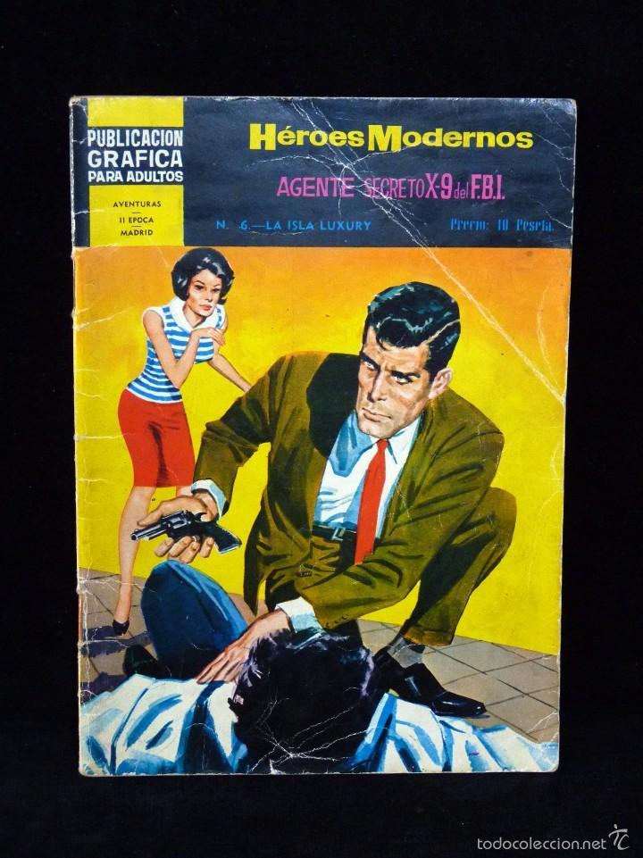 Nº 6 HÉROES MODERNOS. AGENTE SECRETO X-9 DEL F.B.I. ED. DOLAR 1966 (Tebeos y Comics - Dólar)