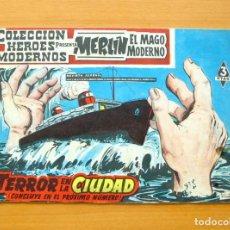 Tebeos: HÉROES MODERNOS - MERLIN EL MAGO MODERNO Nº 5 - TERROR EN LA CIUDAD - EDITORIAL DÓLAR 1960. Lote 62069872