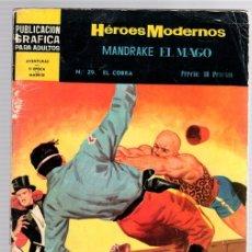 Tebeos: MANDRAKE EL MAGO POR LEE FALK. Nº 29. EL COBRA. HEROES MODERNOS. DOLAR. AÑO 1960. Lote 130484532