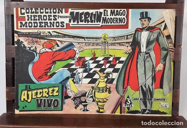 Tebeos: MERLIN EL MAGO MODERNO. 11 EJEMPLARES. EDITORIAL DÓLAR. MADRID. 1958. - Foto 4 - 138021994