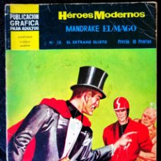 Tebeos: HÉROES MODERNOS - MANDRAKE EL MAGO Nº 18 - EL EXTRAÑO SUJETO - DOLAR 1966 - II ÉPOCA. Lote 210047738