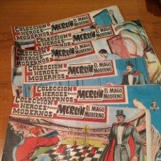 Tebeos: MERLÍN EL MAGO MODERNO, HÉROES MODERNOS, DÓLAR, N° 1,5,6,7,8,9,10,11,12,13,14. Lote 228694515