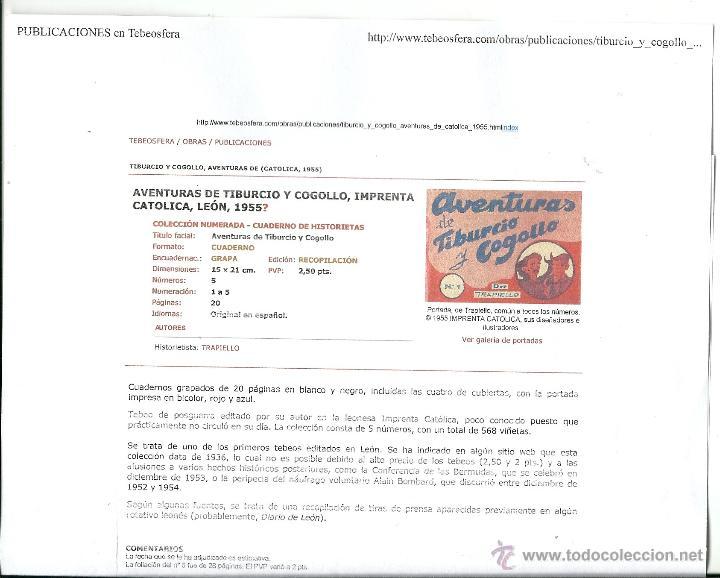 Tebeos: AVENTURAS DE TIBURCIO Y COGOLLO 5 EJEMPLARES COLECC. COMPLETA NUMERADA DEL 1AL5-año1940-EXCLUSIVA- - Foto 3 - 39814690