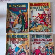Tebeos: T-414.- LOTE DE -- 4 -- ALMANAQUES DE - ROBERTO ALCAZAR Y PEDRIN.- ORIGINALES- AÑOS 1956-57-58-59. Lote 226463380