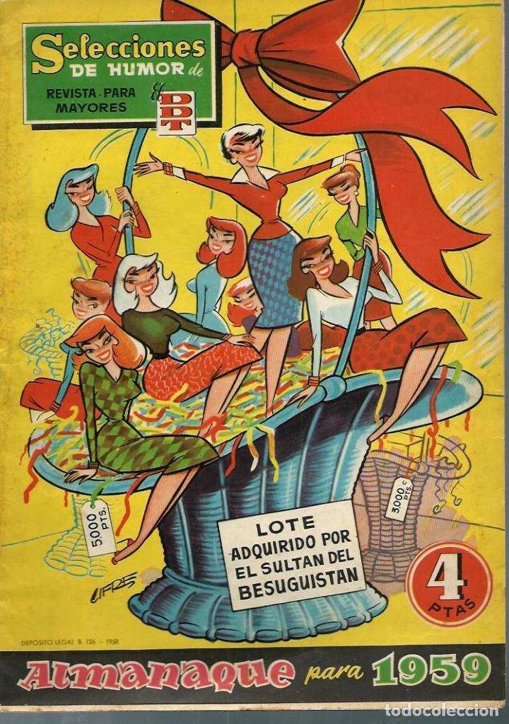 SELECCIONES DE HUMOR DE EL DDT - ALMANAQUE PARA 1959 - BRUGUERA 1958 - ORIGINAL - BIEN (Tebeos y Comics - Tebeos Almanaques)