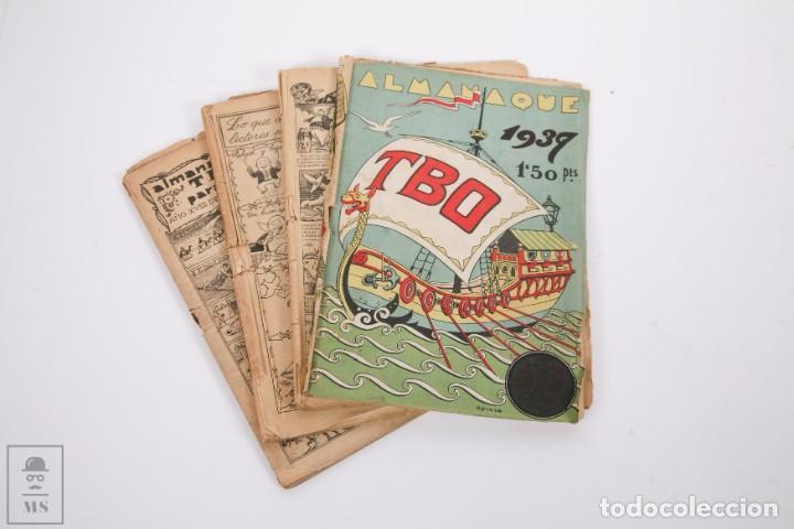 CONJUNTO DE 4 TBO ALMANAQUE - AÑOS 1934, 1935, 1936 Y 1937 - PORTADA OPISSO (Tebeos y Comics - Tebeos Almanaques)