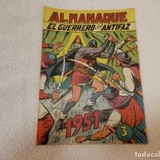 Tebeos: ALMANAQUE 1951, EL GUERRERO DEL ANTIFAZ. ED. VALENCIANA, ORIGINAL, MUY BUEN ESTADO GENERAL. Lote 286574463