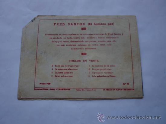 Tebeos: FRED SANTOS Nº 10 EL HOMBRE RANA ORIGINAL - Foto 2 - 31006583
