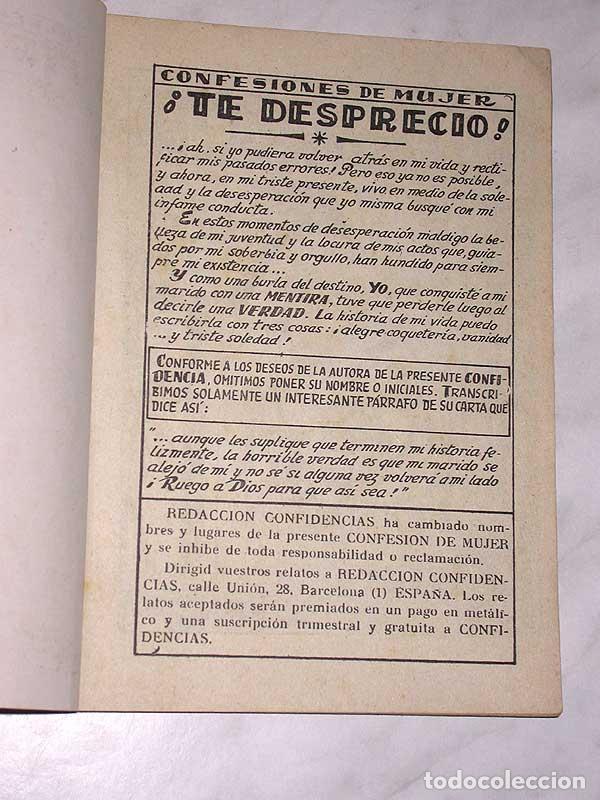 Tebeos: TE DESPRECIO. COLECCIÓN DAMITA, SERIE CONFIDENCIAS Nº 63. EXCLUSIVAS FERMA, 1958. ++ - Foto 2 - 64847887
