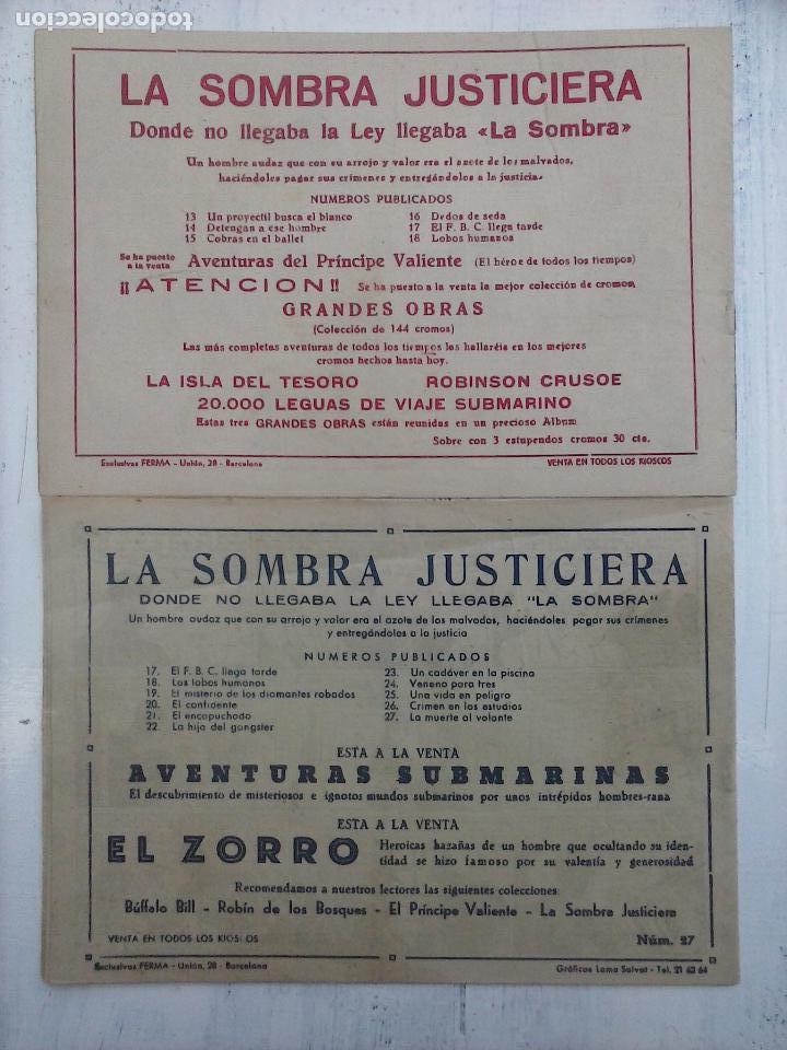 Tebeos: LA SOMBRA JUSTICIERA ORIGINALES NºS 18 Y 27 - EDI. FERMA 1954 - FERRANDO-MARTÍNEZ OSETE - Foto 3 - 108383059