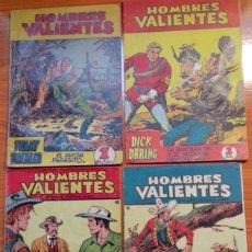 Tebeos: HOMBRES VALIENTES: TOMMY BATALLA Nº 1, DICK DARING Nº 1, HONDO Nº 10, KIT CARSON Nº 18 = TODOS BIEN.. Lote 144622274