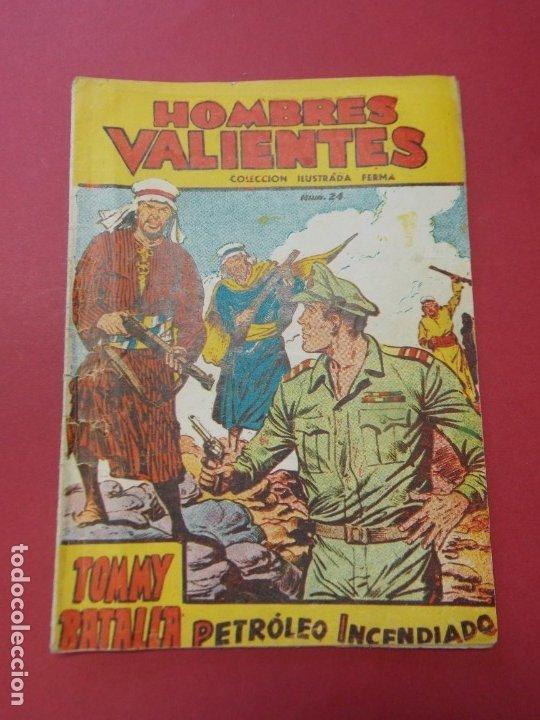COMIC - HOMBRES VALIENTES , TOMMY BATALLA - Nº 24, PETROLEO INCENDIADO - FERMA 1958 . L444 (Tebeos y Comics - Ferma - Otros)