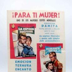 Tebeos: POSTER O CARTEL PROMOCIONAL COLECCIÓN DAMITA. ¡PARA TI, MUJER!. FERMA, CIRCA 1960. Lote 187102458