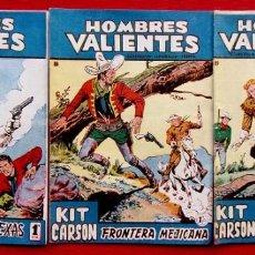 Tebeos: HOMBRES VALIENTES. KIT CARSON. 3 NÚMEROS DIFERENTES. ED.FERMA. AÑO: 1958. ORIGINALES.. Lote 220597020