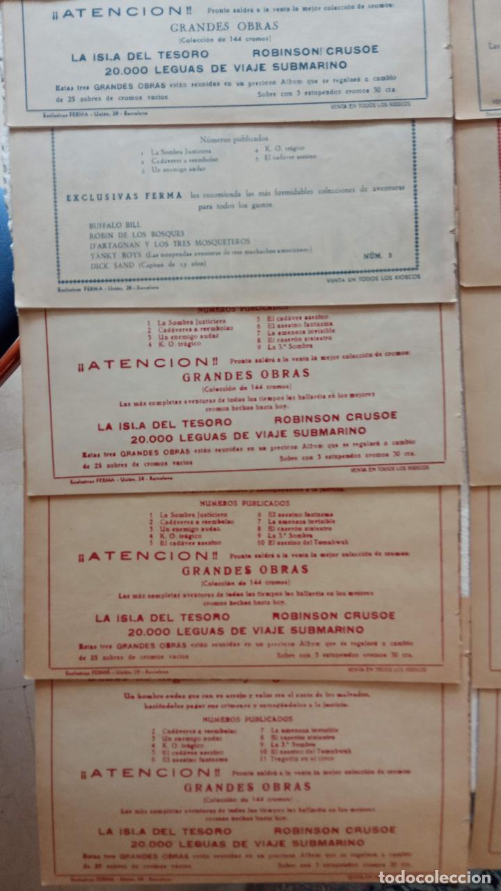 Tebeos: LA SOMBRA JUSTICIERA ORIGINAL 34 TEBEOS - EDI. FERMA 1954 - VER TODAS LAS PORTADAS - Foto 21 - 236655090