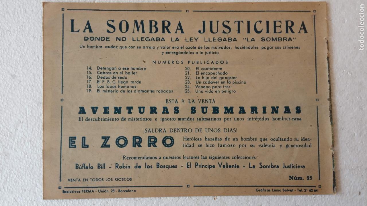 Tebeos: LA SOMBRA JUSTICIERA ORIGINAL 34 TEBEOS - EDI. FERMA 1954 - VER TODAS LAS PORTADAS - Foto 78 - 236655090