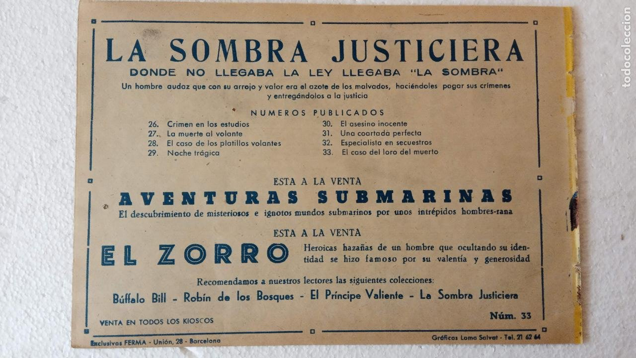 Tebeos: LA SOMBRA JUSTICIERA ORIGINAL 34 TEBEOS - EDI. FERMA 1954 - VER TODAS LAS PORTADAS - Foto 108 - 236655090