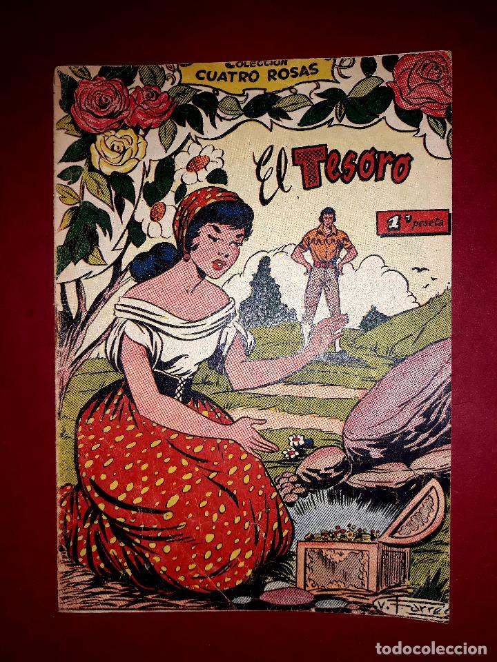 EL TESORO COLECCIÓN CUATRO ROSAS Nº 13 DIBUJANTE VICENTE FERRER 1955 (Tebeos y Comics - Ferma - Otros)