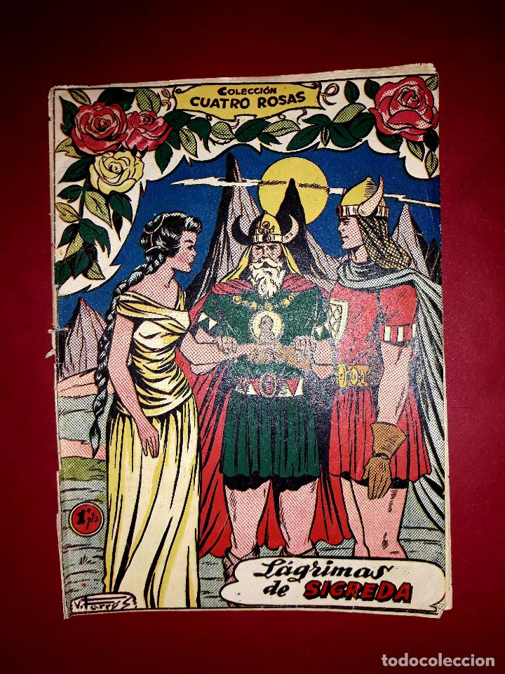 LÁGRIMAS DE SIGREDA COLECCIÓN CUATRO ROSAS Nº 19 DIBUJANTE VICENTE FERRER 1955 (Tebeos y Comics - Ferma - Otros)