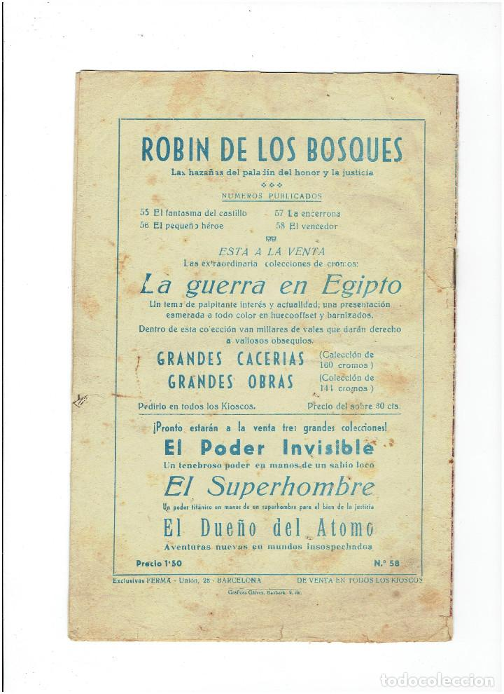 Tebeos: Archivo * ROBIN DE LOS BOSQUES * Nº 58 EL VENCEDOR * ED. FERMA 1955 * - Foto 2 - 268741744