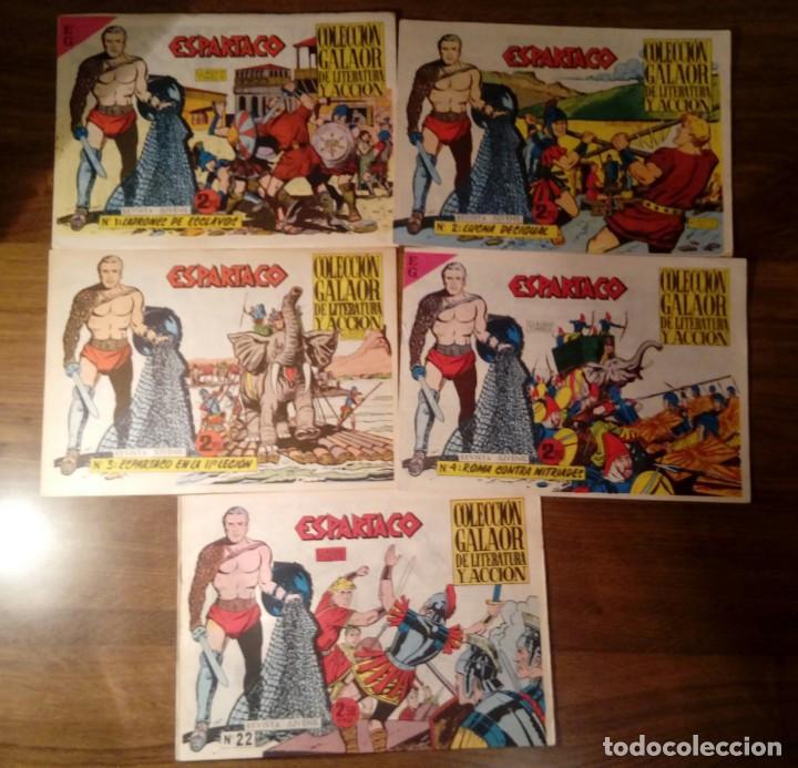 ESPARTACO. REEDICIÓN. GALAOR. LOTE DE 5 NÚMEROS: 1,2,3,4 Y 22. (Tebeos y Comics - Galaor)