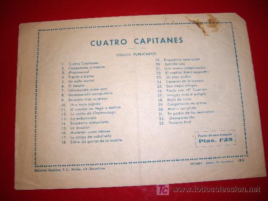 Tebeos: CUATRO CAPITANES Nº 33 ULTIMO DE LA COLECCION ORIGINAL - Foto 2 - 26556095