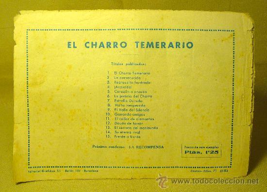 Tebeos: COMIC, EL CHARRO TEMERARIO, Nº 15, FRENTE A FRENTE, EDITORIAL GRAFIDEA - Foto 2 - 22530121