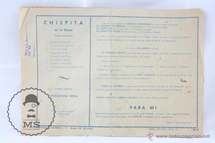 Tebeos: Cómic Chispita - Nº 8. Los Bandidos de Comanche Falls - Ed. Grafidea, Años 50 - Foto 4 - 53879847