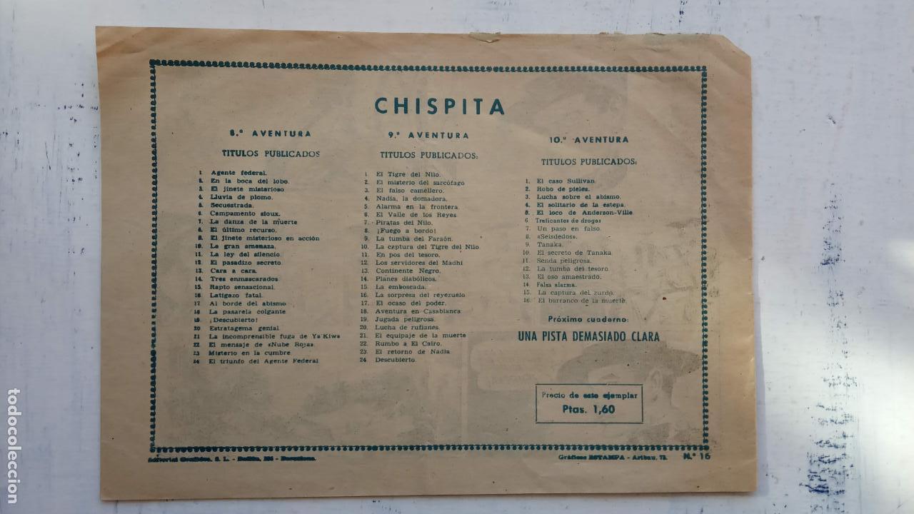 Tebeos: CHISPITA ORIGINAL 10ª AVENTURA Nº 16 - 1958 GRAFIDEA - A. BIOSCA - Foto 2 - 151021902