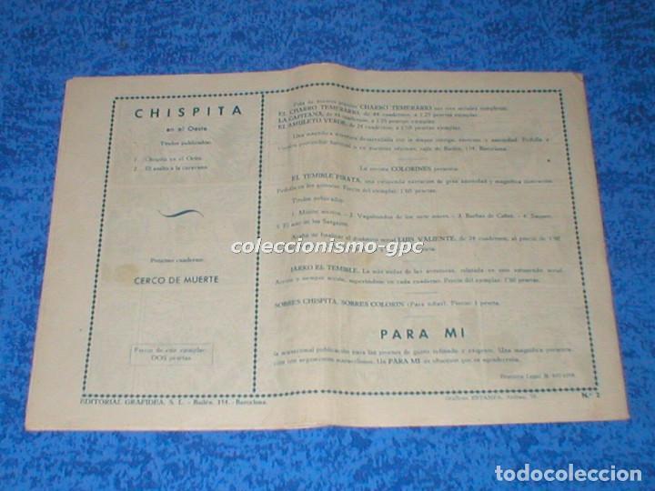 Tebeos: CHISPITA 2ª SEGUNDA AVENTURA nº 2 TEBEO ORIGINAL 1952 ASALTO A LA CARAVANA Editorial GRAFIDEA Mira ! - Foto 2 - 161573398