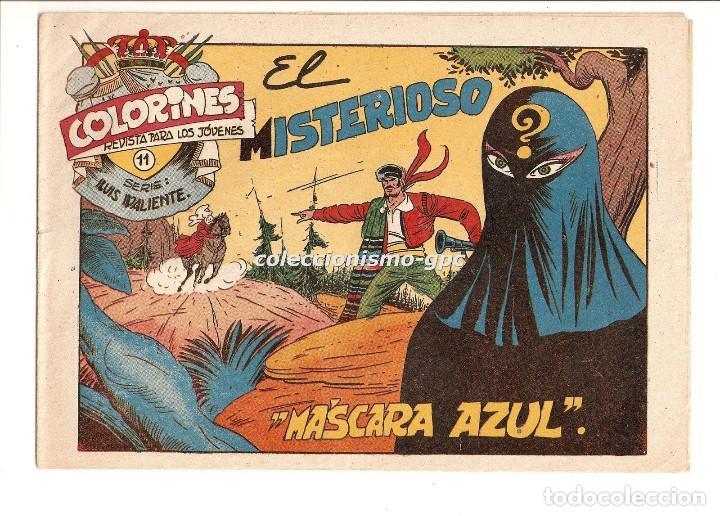 COLORINES SERIE LUIS VALIENTE Nº 11 TEBEO ORIGINAL 1957 EL MISTERIOSO MASCARA AZUL EDIORIAL GRAFIDEA (Tebeos y Comics - Grafidea - Otros)