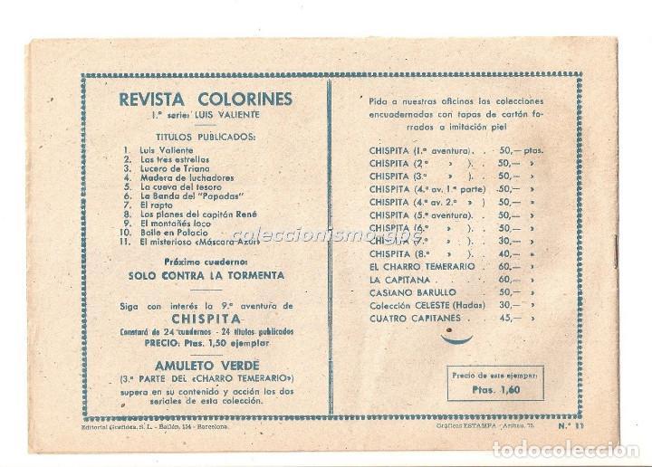 Tebeos: COLORINES Serie LUIS VALIENTE nº 11 TEBEO ORIGINAL 1957 EL MISTERIOSO MASCARA AZUL Ediorial GRAFIDEA - Foto 2 - 163587130