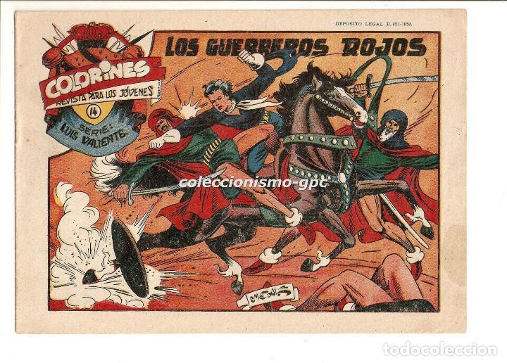 COLORINES SERIE LUIS VALIENTE Nº 14 TEBEO ORIGINAL 1958 LOS GUERREROS ROJOS EDIORIAL GRAFIDEA (Tebeos y Comics - Grafidea - Otros)