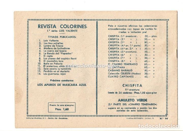 Tebeos: COLORINES Serie LUIS VALIENTE nº 14 TEBEO ORIGINAL 1958 LOS GUERREROS ROJOS Ediorial GRAFIDEA - Foto 2 - 163588086