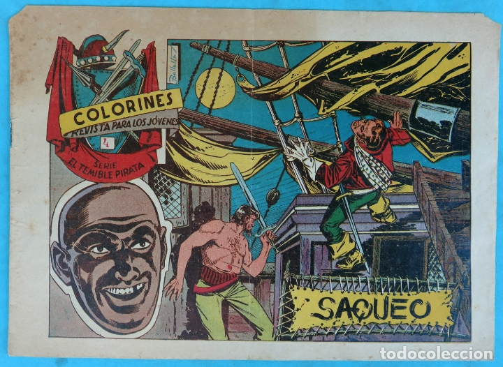 COLORINES , SERIE TEMIBLE PIRATA , Nº 4 , SAQUEO , ANTIGUO , ORIGINAL , CT1 (Tebeos y Comics - Grafidea - Otros)
