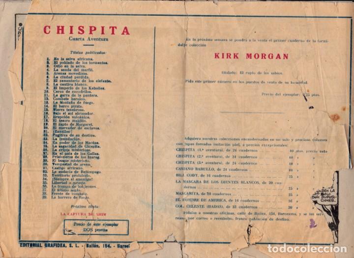 Tebeos: Chispita, cuarta aventura, número 39: la barrera de fuego, 1953, Grafidea - Foto 2 - 193781223