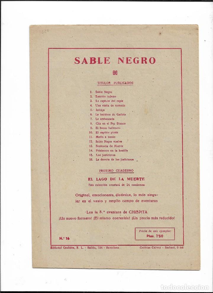 Tebeos: Sable Negro Año 1957 Nº 16 es Original el último de la colección y nuevo dibujos de Ángel Salmerón - Foto 2 - 204197750