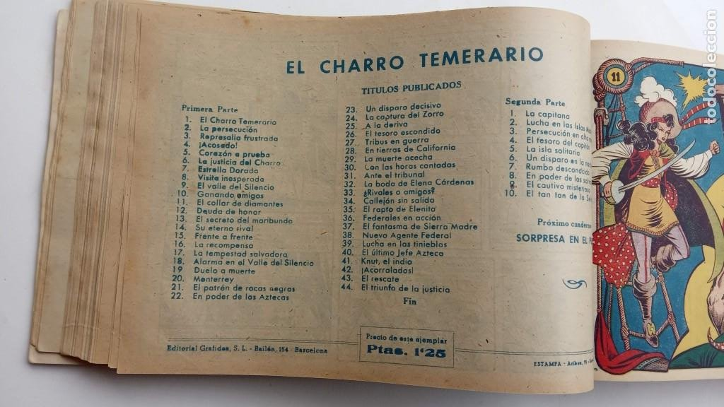 Tebeos: LA CAPITANA Y EL AMULETO VERDE ORIGINALES COMPLETAS, SERIE CHARRO TEMERARIO, MUY BUENAS, VER FOTOS - Foto 42 - 224835301